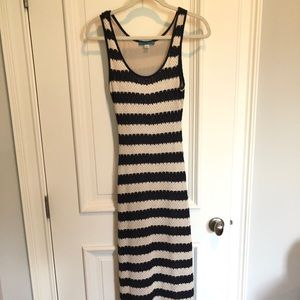 Pim and Larkin navy and white crochet maxi